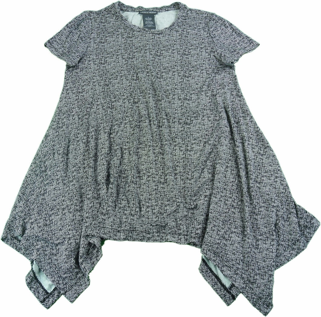 Chelsea & Theodore Womens Size Small Short Sleeve Sharkbite Top, Window Mesh