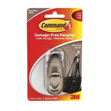 Command (FC12-BN-ES) Damage Free Decorative Hook, Brushed Nickel (Up to 3 lbs)