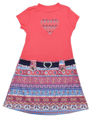 Pink & Violet Girls Size Large (10/12) Short Sleeve Heart Dress, Coral/Navy