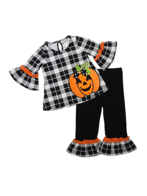 Emily Rose Little Girls Halloween Bell Sleeve Top & Leggings 2-Piece Set, Black