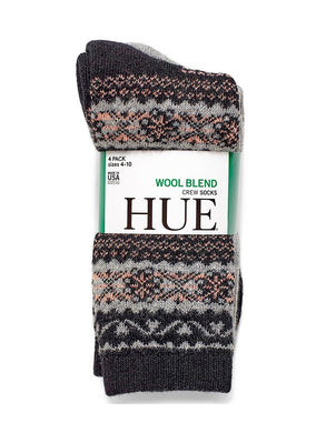(Total of 8 Pairs), HUE Womens Size 4-10 Wool Blend 4-Pack Crew Socks, Assorted