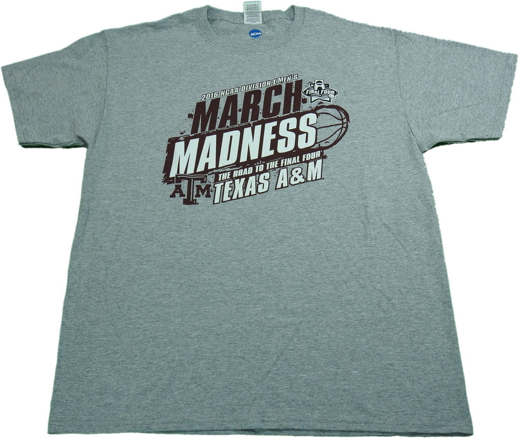 NCAA Men's Size Large 2016 Division I Texas A&M March Madness T-Shirt, Grey