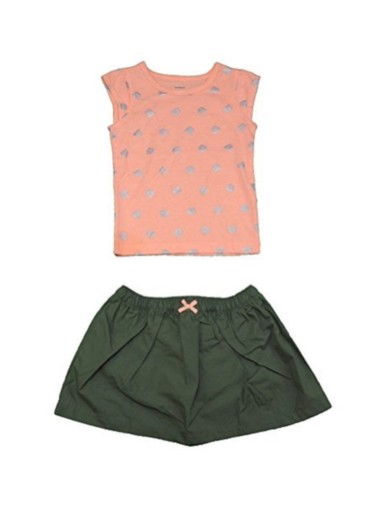 Carters 2-Piece Baby Girls Size 2T Skort and Top Set, Coral/Olive