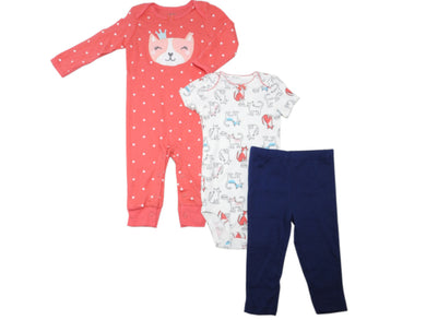 Carters Baby Girls Jumpsuit/Bodysuit/Pant 3-Piece Set, Kitty Cat/Pink (Assorted)