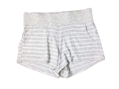 Active Life Womens Size Small Wide Waistband Modal Short, Htr Grey/White Stripe
