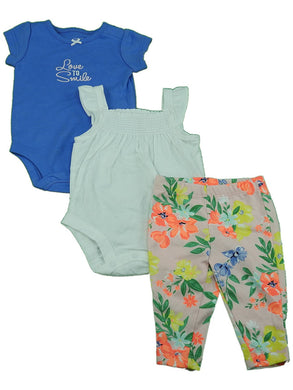 Carter's Baby Girls Love to Smile Bodysuits w/Floral Legging 3-Piece Set, Violet