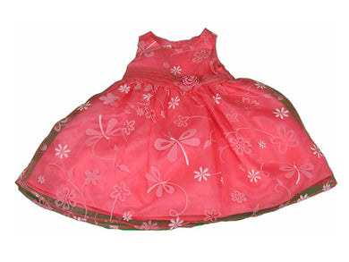 Jessica Ann Baby Girls Size 18 Months Sleeveless Flower Dress w/Bloomer, Coral
