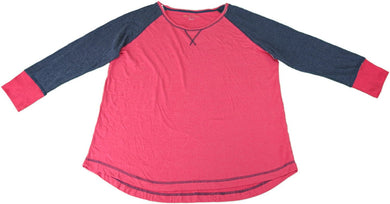Kenneth Cole Reaction Ladies Size X-Large Long Sleeve Pajama Top, Navy/Red