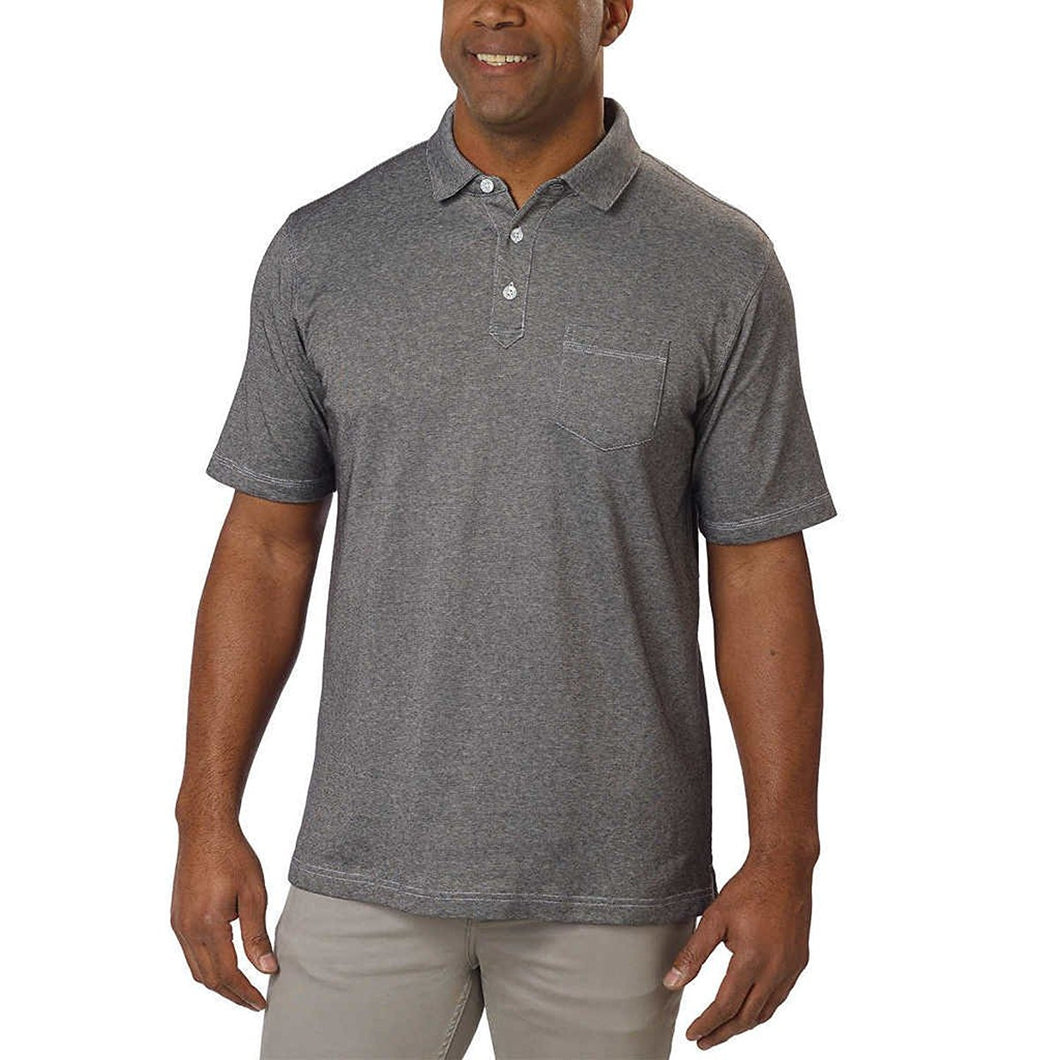 Cypress Club Mens Size X-Large Short Sleeve Polo Shirt, Black/White Striped