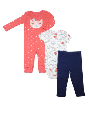 Carters Baby Girls Size 9 Months Jumpsuit/Bodysuit/Pant 3-Pc Set, Kitty Cat/Pink
