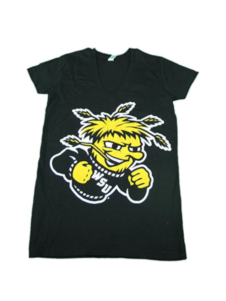 Knights Apparel Women's Size Medium V-Neck Wichita State Tee, Black/Yellow