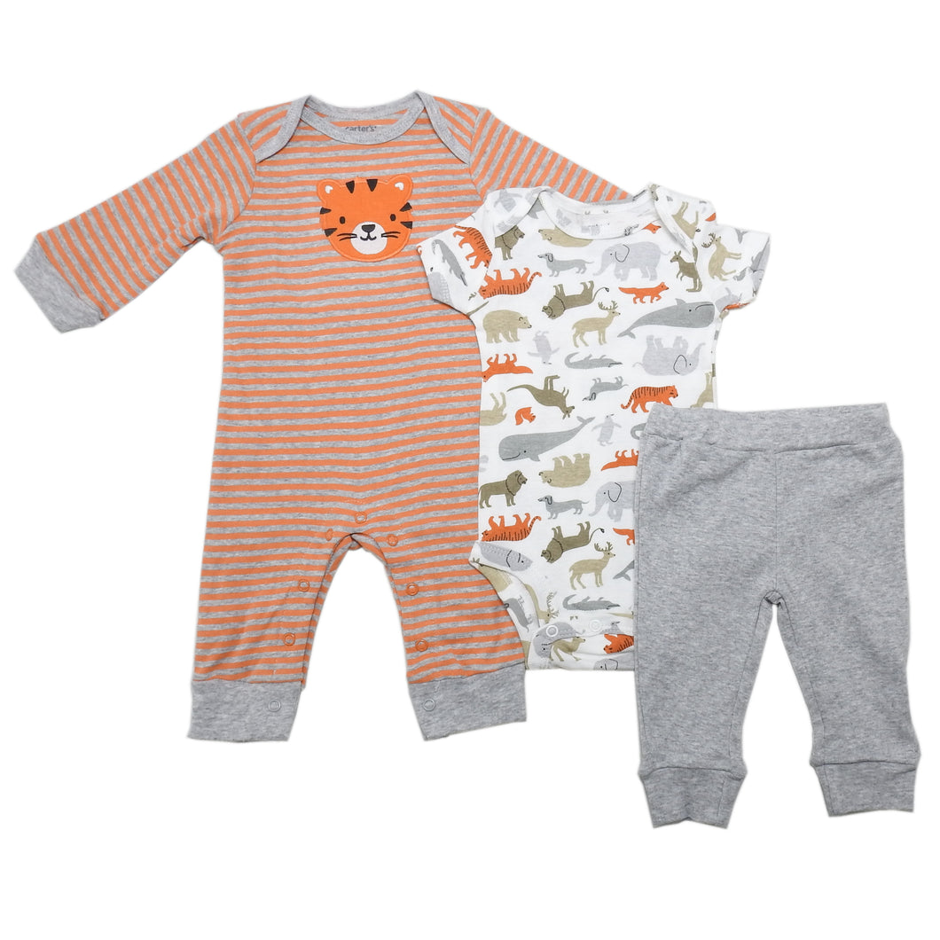 Carter's Baby Boys Bodysuit/Romper/Pant Tiger & Animals 3-Piece Set, Grey/Orange