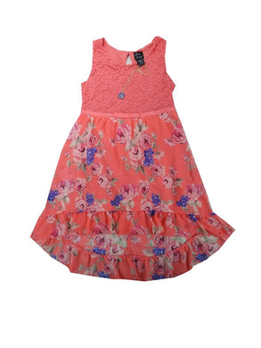 Pink + Violet Girls Size X-Large 14/16 Sleeveless Dress + Necklace, Coral/Multi