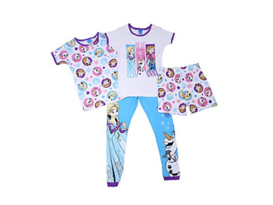 Disney Frozen Girls Short Sleeve Tops/Pant/Short Pajama 4-Piece Set, White/Multi