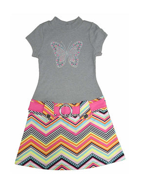 Pink & Violet Girls Short Sleeve Butterfly Bling Dress, Heather Grey/Multi