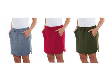 (3-Pack) Balance Collection Women's Size XX-Large Weekend Skirt, Multi-Color
