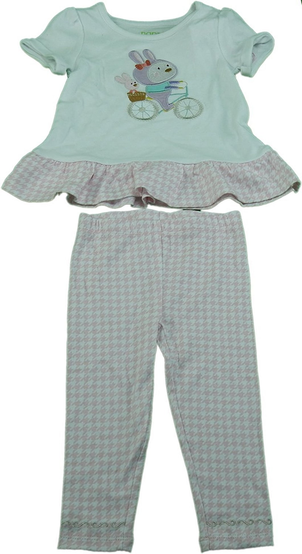 Happi by Dena Baby Girls 2-Piece Shirt & Pant Set, Pink/White/Multi Bunny