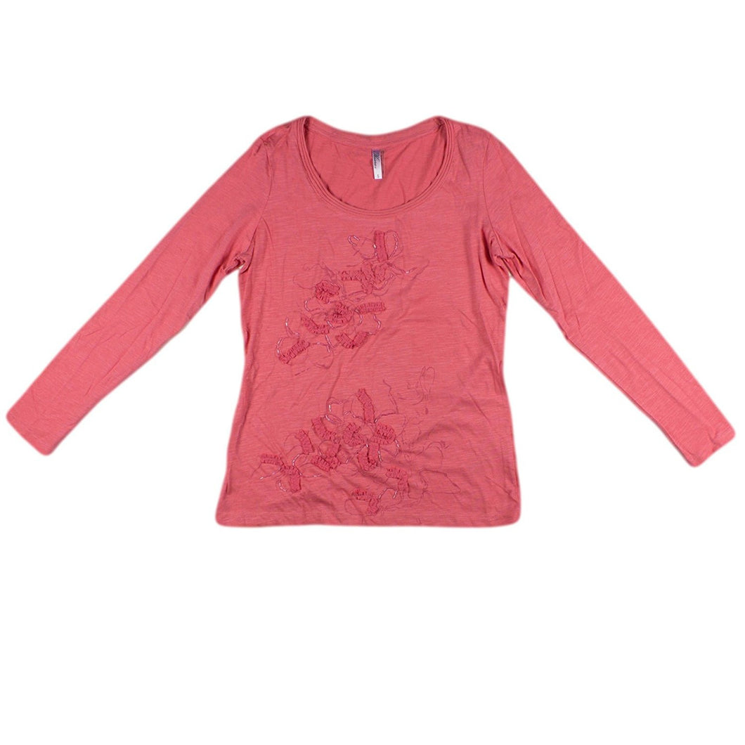 Kiara Womens Size Small Long Sleeve Embellished Floral Print Top, Sunkist Coral