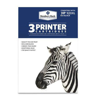 Members Mark HP 920XL 3-Pack Printer Cartridges, Black