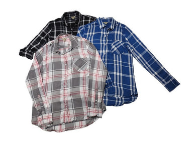 (3-Pack) Woolrich Womens Size Small Lightweight Button-Down Shirt, Blue/Rose/Blk