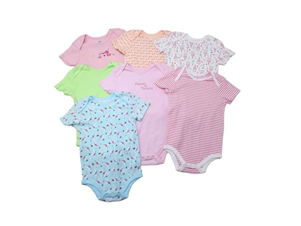 Members Mark 7-Piece Baby Girls Size 24 Mo. Bodysuit Set, Multi-Color Princess