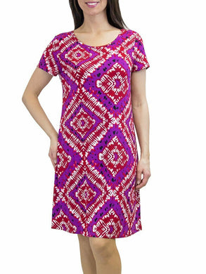 U-Knit Ladies Short Sleeve Scoop-Neck Soft & Comfy Stretch Knit Casual Dress