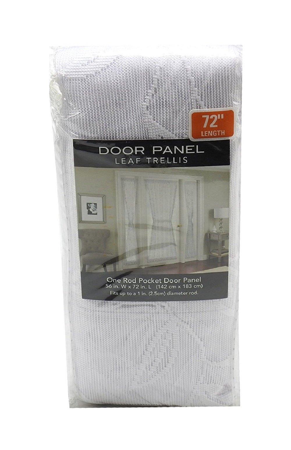 Leaf Trellis One Rod Pocket (56 in.W x 72 in.L) Door Panel, White