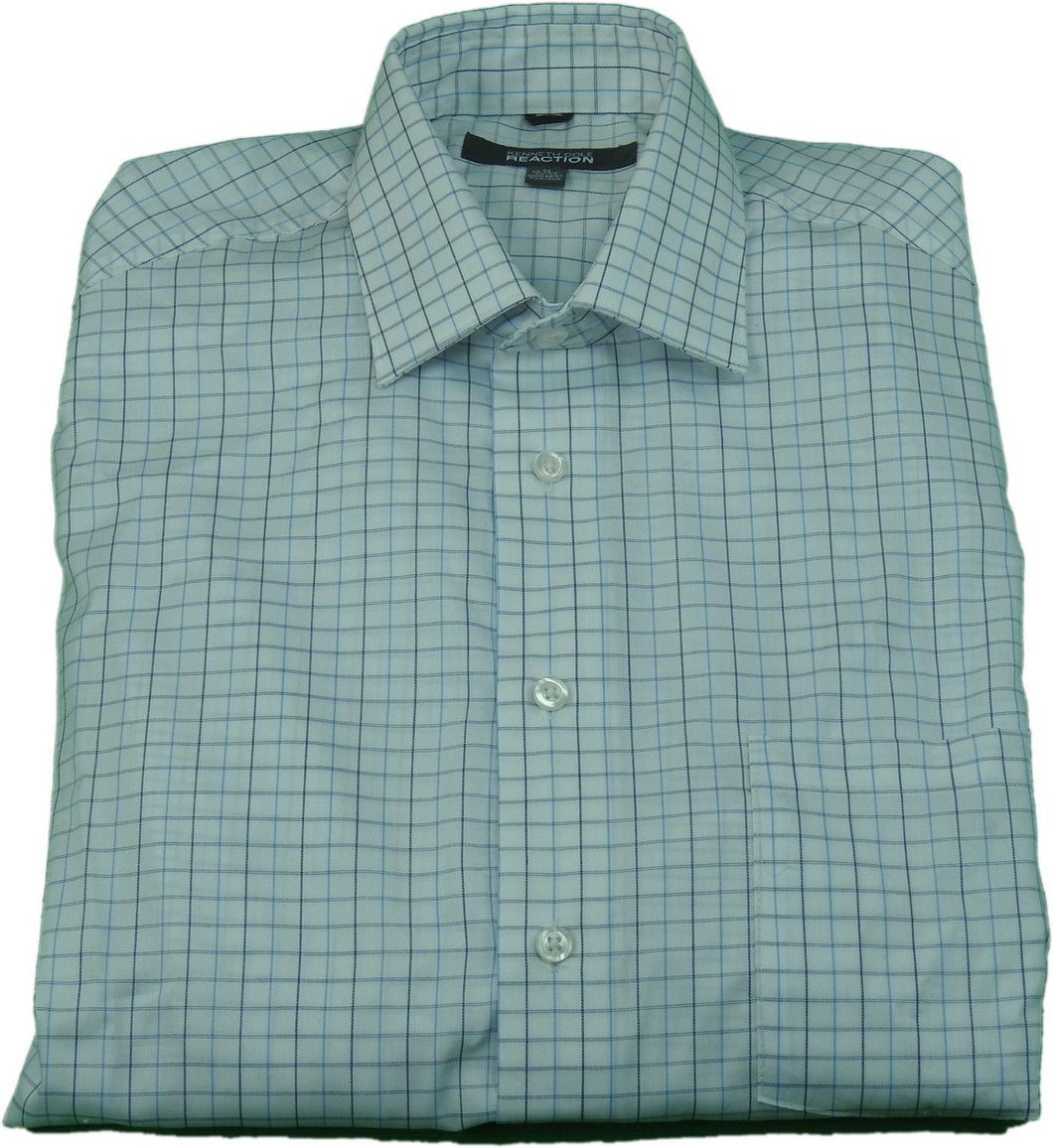 Kenneth Cole Reaction Mens Size Medium 15-15.5 (32-33) Dress Shirt, Blue/White