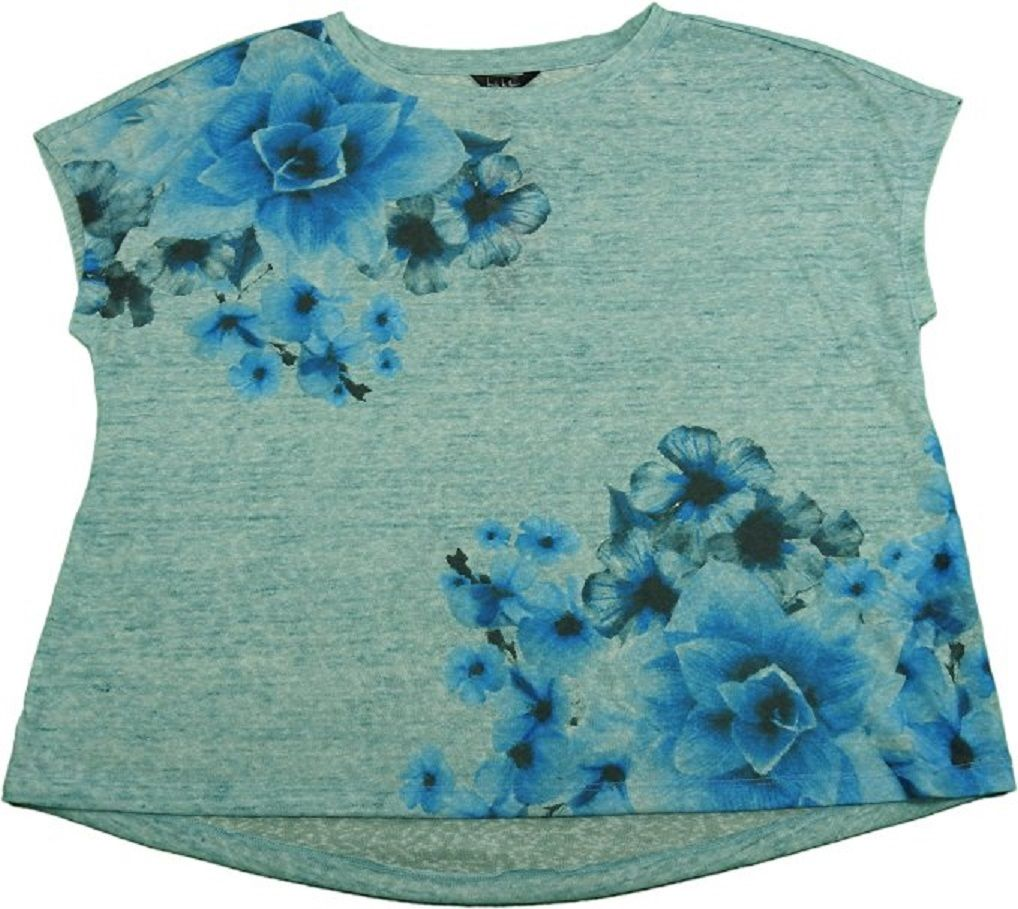 Nicole Miller Womens Size X-Large Scoop Neck Blouse, Floral Blossom (Htr Blue)