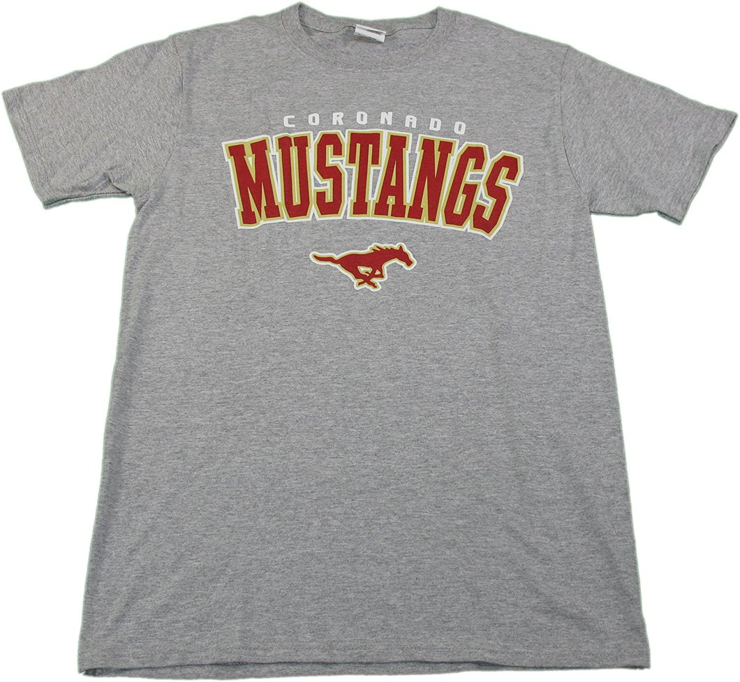 Jerzees Pel Athletics Mens Small Cornado Mustangs High School T-Shirt, Grey