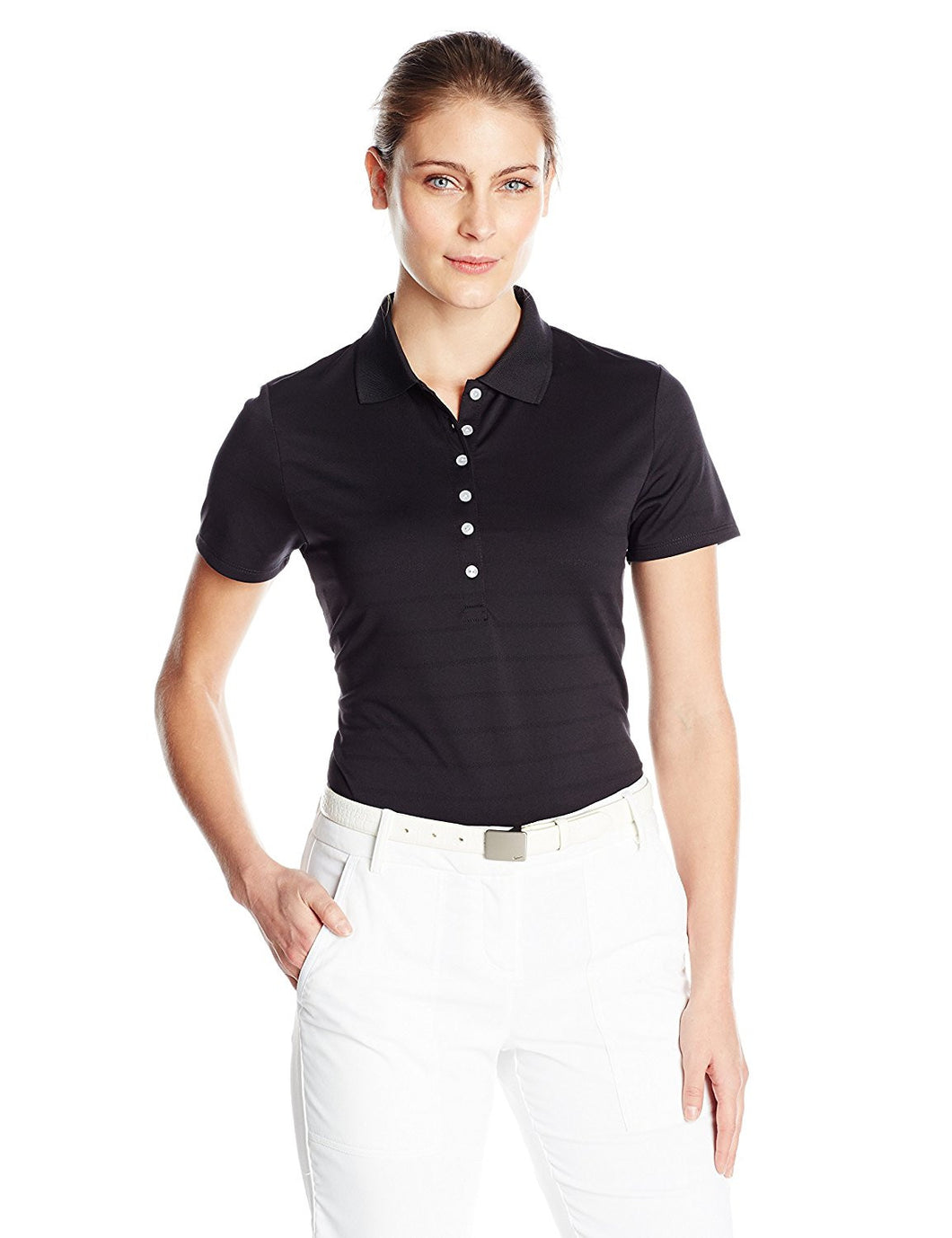Callaway Womens Size Large Golf Short Sleeve Pique Open Mesh Polo Shirt, Black