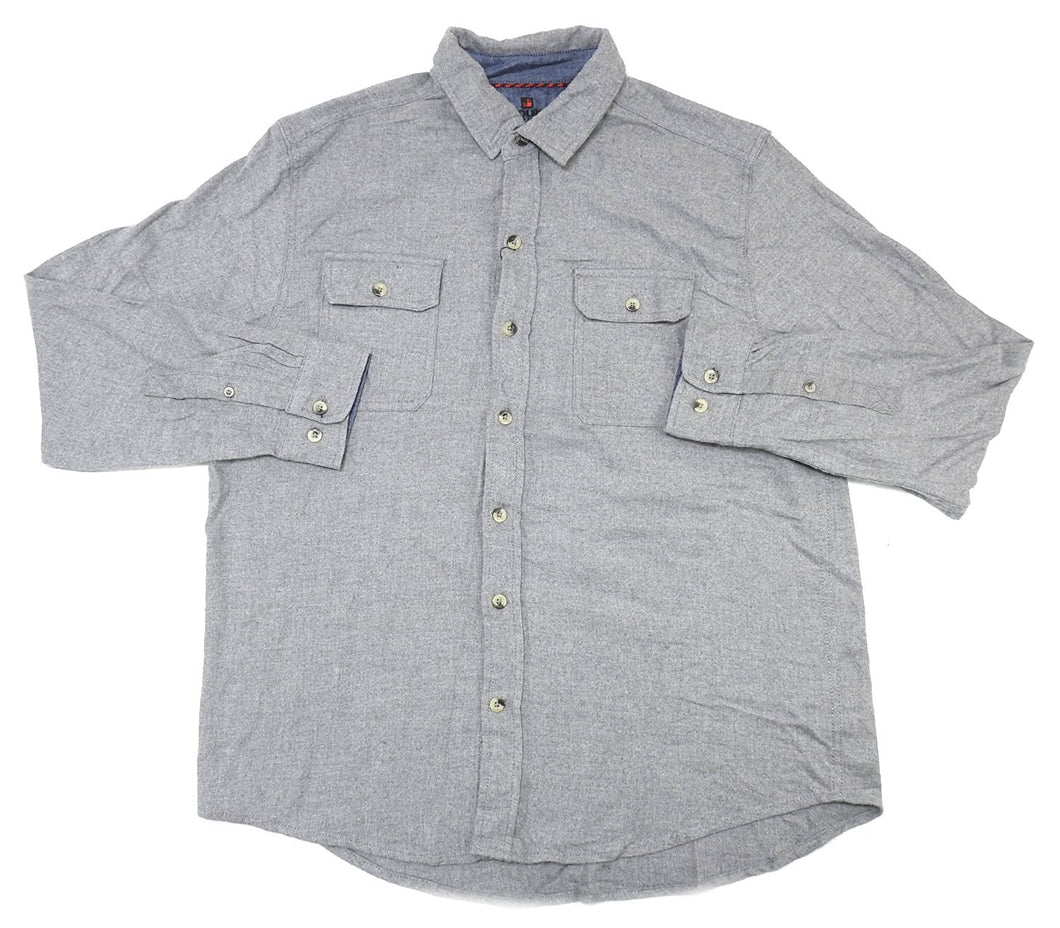 Woolrich Mens Size X-Large Ultimate Flannel Button-Down Shirt, Heather Grey
