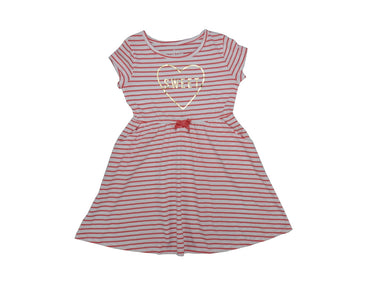 Members Mark Girls Size 5 Flip Flop Dress, Pink/White Stripe