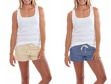 (2-Pack) Eddie Bauer Womens Size X-Large Cozy Lounge Shorts, Oatmeal/Misty Blue
