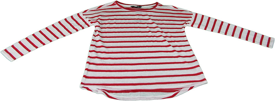 Kiara Whisper Soft Women's Size Small Long Sleeve Scoop Neck Top, Red/White