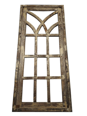Rustic World Farmhouse Distressed Wood Square Large Window Frame, Rustic Beige