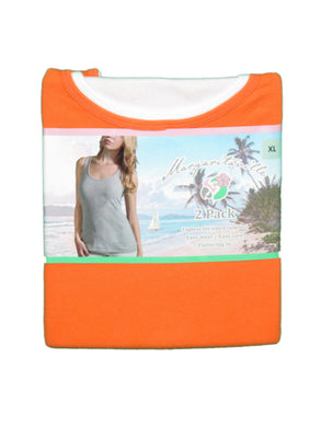 Margaritaville Women's Medium (8-10) 2-Pack Tagless Tanks, Orange/White