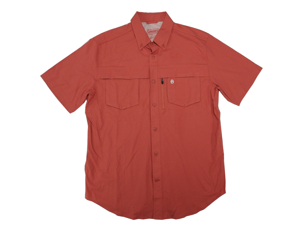 Coleman Mens Size Medium S/S Adventure Button-Down Fishing Shirt, Mineral Red