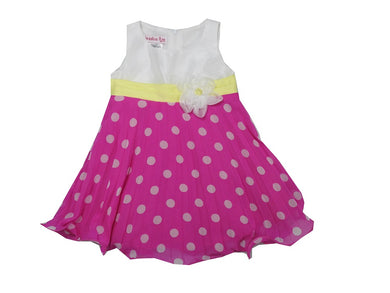 Jessica Ann Girls Size 6X Sleeveless Polka-Dot Dress, Fuchsia