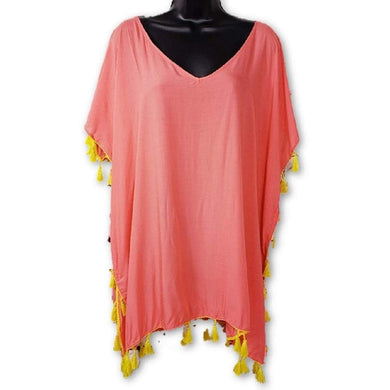 C&T Beach Womens Size X-Large Beach Cover Up, Coral Lily/Mandalay Lime