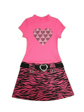 Pink & Violet Girls Short Sleeve Bling Heart Animal Print Dress, Fuchsia