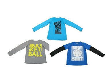 (3-Pack) Champion Boys Size 7/8 Long Sleeve T-Shirts, Multi-Colors