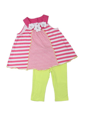 Kids Headquarters Little Girls Sleeveless Top & Legging 2-Piece Set, Pink Stripe