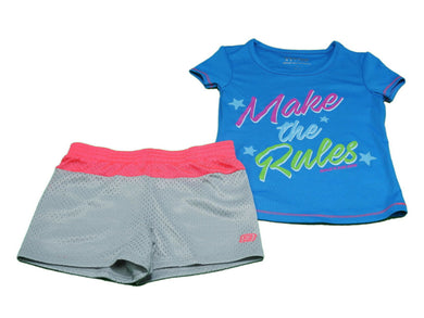 Skechers Active Girls Short Sleeve Top & Mesh Short 2-Piece Set, Blue Jewel