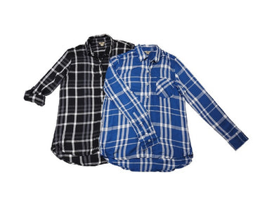 (2-Pack) Woolrich Womens Size Small Lightweight Button-Down Shirt, Blue/Black