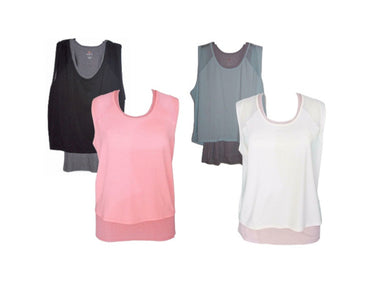 (4-Pack) Tangerine Womens Active Layered Twofer Tank Top, Blue/Black/Blush/Coral