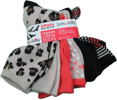 June & Daisy 6-Pk Ladies Size 4-10 Crew Socks, Multi-Color