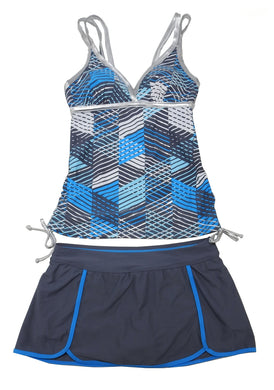 Free Country Womens Size Small (4/6) 2-Piece Tankini Set, Turquoise/Cloud Grey