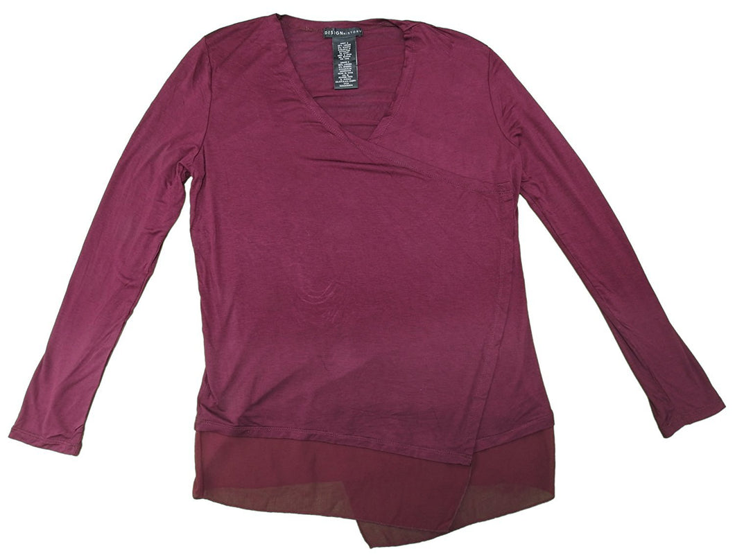 Design History Womens Open Front Cardigan, Black Cherry