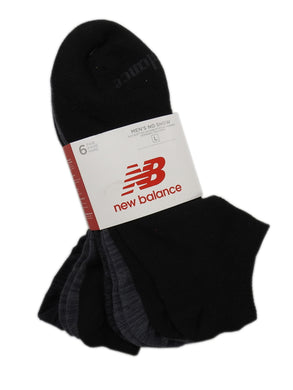 New Balance Mens Size Large (10-12) Lightweight 6-Pair No Show Socks, Grey/Black